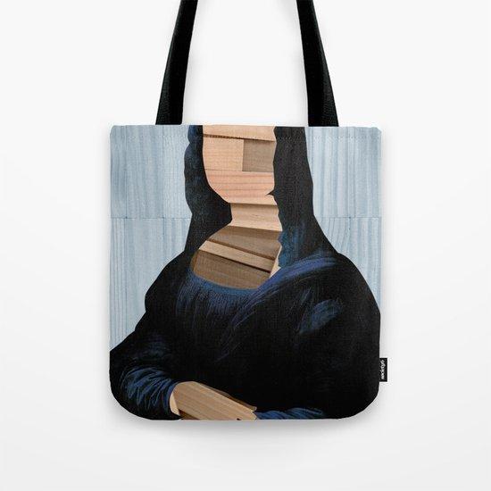 Mona Lisa - blue shining WoodCut Collage Tote Bag