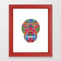 A Really Colourful Skull Framed Art Print