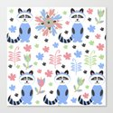 Racoon pattern  Canvas Print