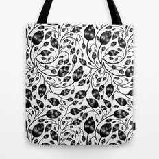 b&w flora pattern Tote Bag