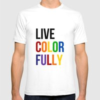 Live Colorfully With Rai… Mens Fitted Tee White SMALL