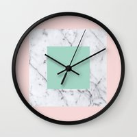 Marble With Pastels /// … Wall Clock