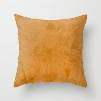 Dante Orange Venetian Plaster Throw Pillow