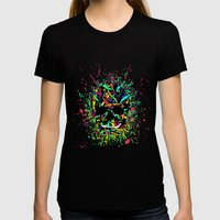 COLOUR SKULL  Womens Fitted Tee Black SMALL