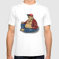 Hipster Buddha White Mens Fitted Tee SMALL