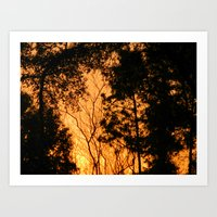 Fire in the woods Art Print