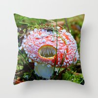 Killer Mushroom Throw Pillow