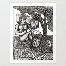 The poet telling tales to slumbering fruit Art Print