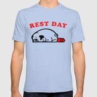 Rest Day Pug Mens Fitted Tee Tri-Blue SMALL