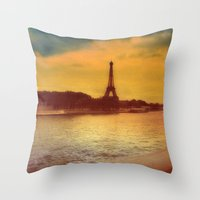 Paris from a Distance  Throw Pillow