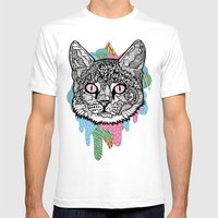 DRIPPY CAT Mens Fitted Tee White SMALL
