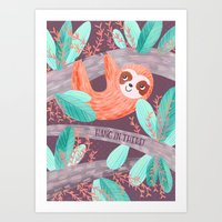 Hang In There Sloth Art Print
