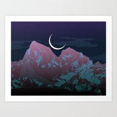 Pixel Mountain Art Print