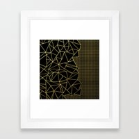 Ab Outline Grid Black and Gold Framed Art Print