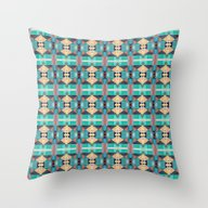 Green Gold And Red Patte… Throw Pillow