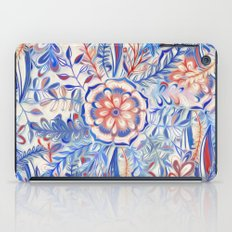 Boho Flower Burst in Red and Blue iPad Case