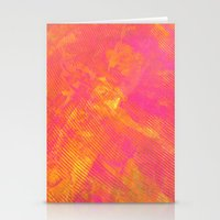 Pink And Orange Stripes Stationery Cards