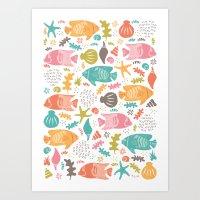 Retro Fish Art Print
