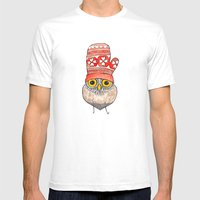 mitten owl Mens Fitted Tee White SMALL