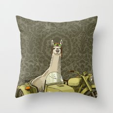 Sidecar Llama Throw Pillow