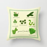Colors: green (Los colores: verde) Throw Pillow