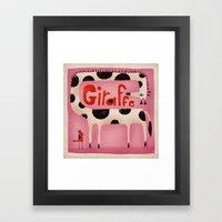 GIRAFFE IN PINK Framed Art Print