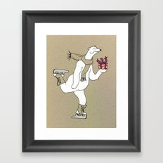 Skating polar bear Framed Art Print