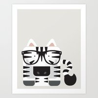 Hipster Zebra Art Print Art Print