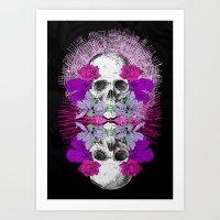Flowers Skull Art Print