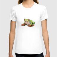 Jeremiah The Frog Womens Fitted Tee White SMALL
