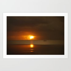 Fishing at Sunrise Art Print
