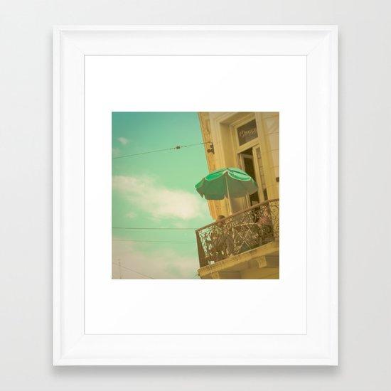 Vintage Turquoise Summer Umbrella (Retro and Vintage Urban Photography)  Framed Art Print
