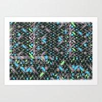 GEOMETRIC GREYS AND BLUES  Art Print