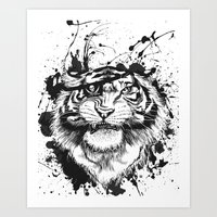 TigARRGH!! (Black And Wh… Art Print