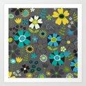 Pop floral (yellow & blue) Art Print