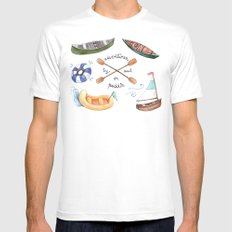 Adventures by Sail or Paddle SMALL Mens Fitted Tee White