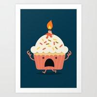 Cupcake on fire Art Print