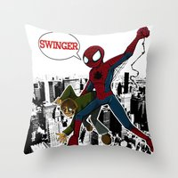 Swinger- A spiders story Throw Pillow