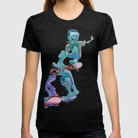 Zombies and Skateboards Womens Fitted Tee Tri-Black SMALL
