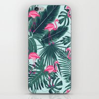tropical pink flamingo iPhone & iPod Skin