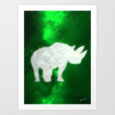Space Rhino Art Print