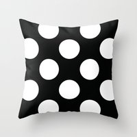 Black with dots Throw Pillow