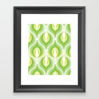 Green Dew Drops Framed Art Print