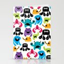 Monster pattern Stationery Cards