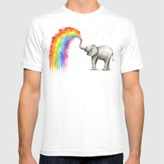 Baby Elephant Spraying Rainbow Whimsical Animals Mens Fitted Tee SMALL White
