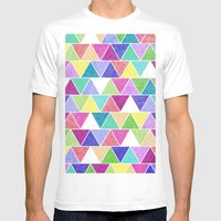 Triangle Print; Mens Fitted Tee White SMALL