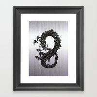 Black Oriental Dragon on Silver Framed Art Print