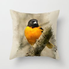 Baltimore Oriole Watercolor Painting Throw Pillow