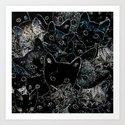 BW Cat Collage Art Print