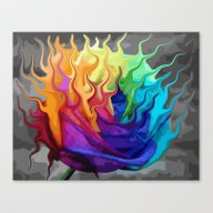 Colorful Flaming Flower Canvas Print